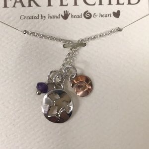 "Sterling Charm & Amethyst Bead Necklace on 18"" Ch"